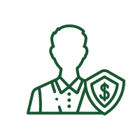 icon of person with dollar sign badge