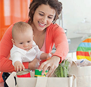mother and child with groceries